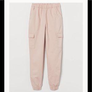 H&M DIVIDED Twill Cargo Jogger pants powder pink